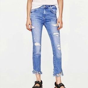 Zara Distressed Girlfriend Jeans